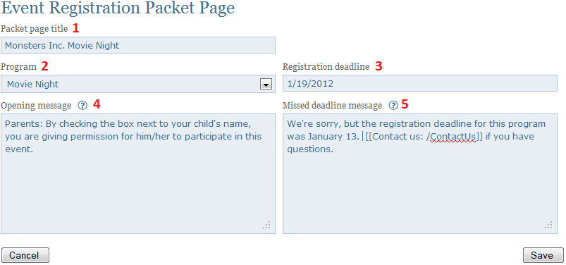 create an event registration packet page