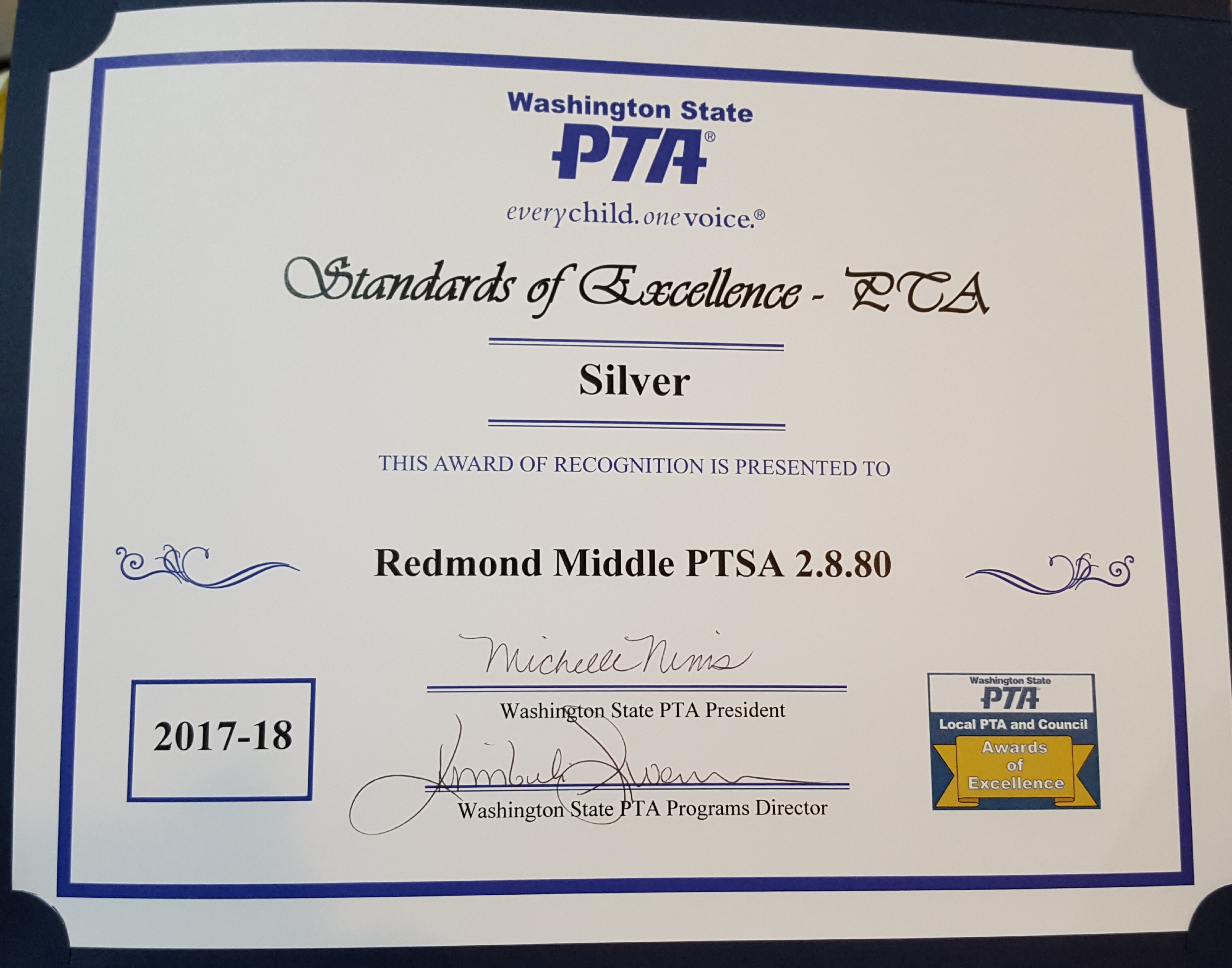 WA State PTA Standards of Excellence Silver Award 2017-18