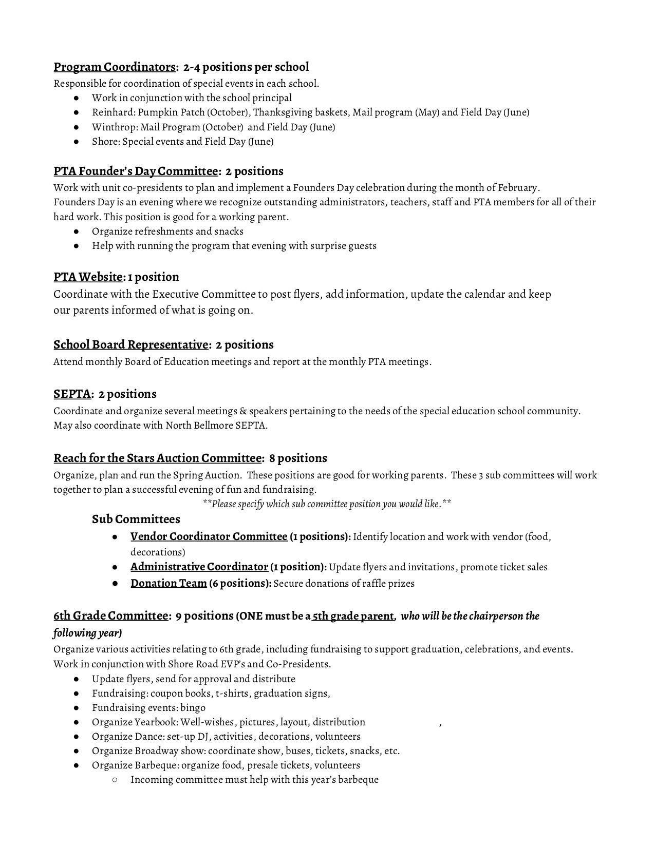 PTA Committee Descriptions