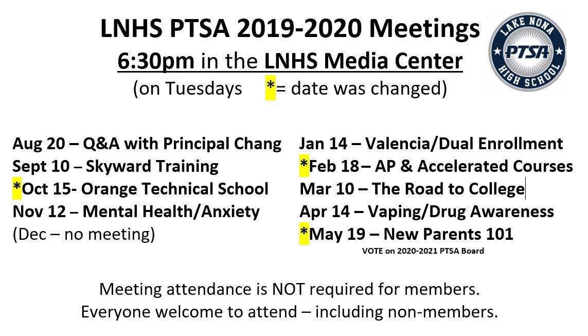 revised meeting calendar