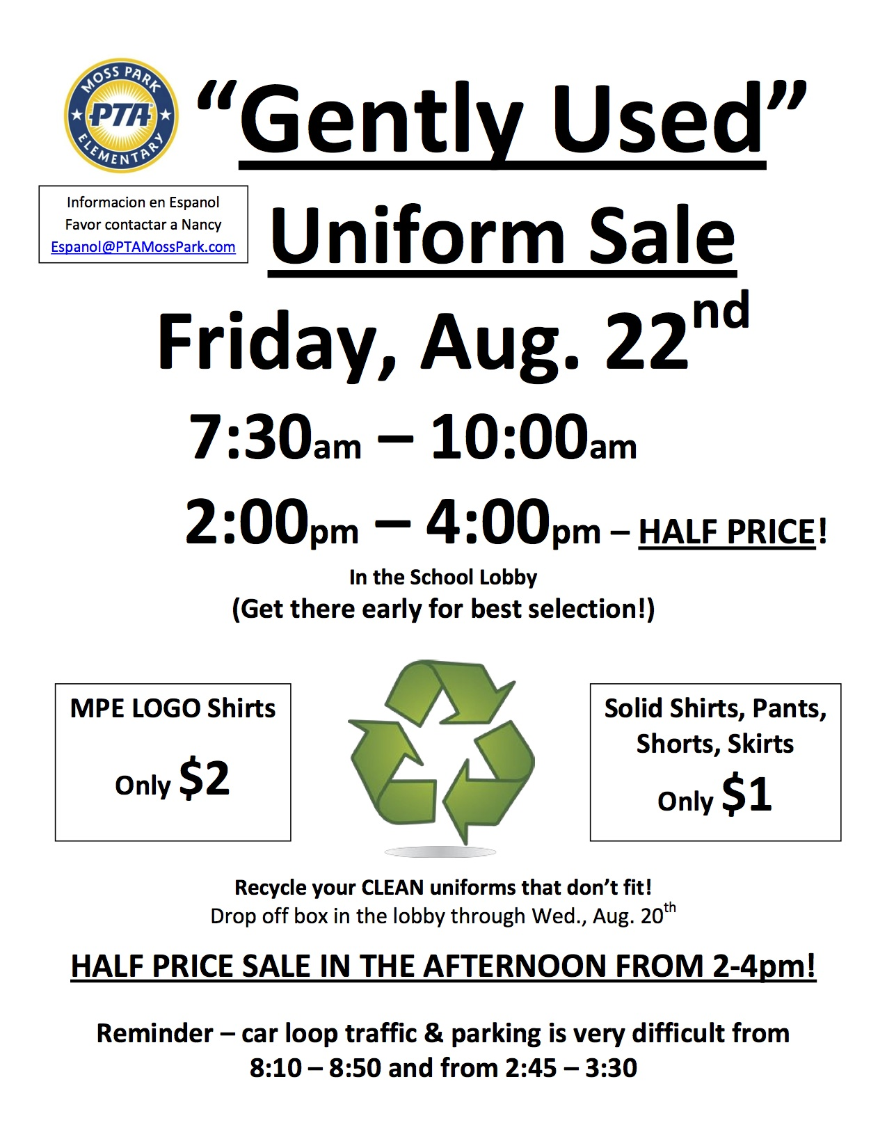 Gently Used Uniform Sale