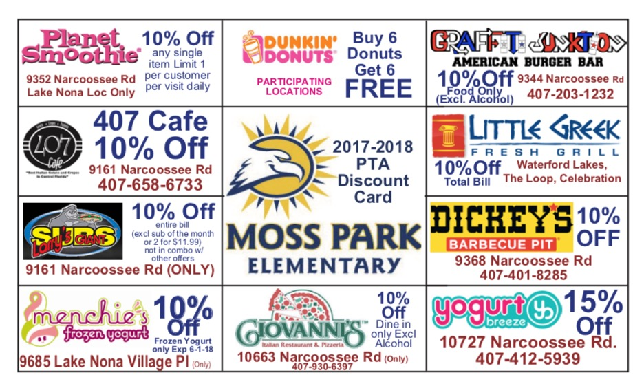 PTA discount card front