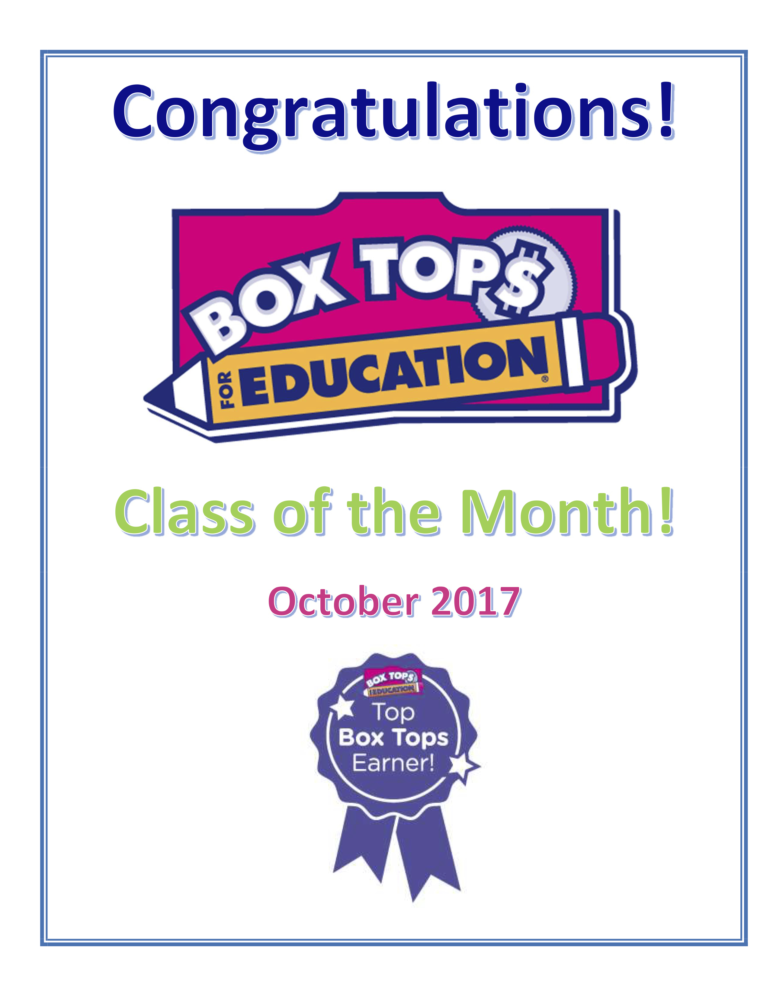 Box Top Class of the Month