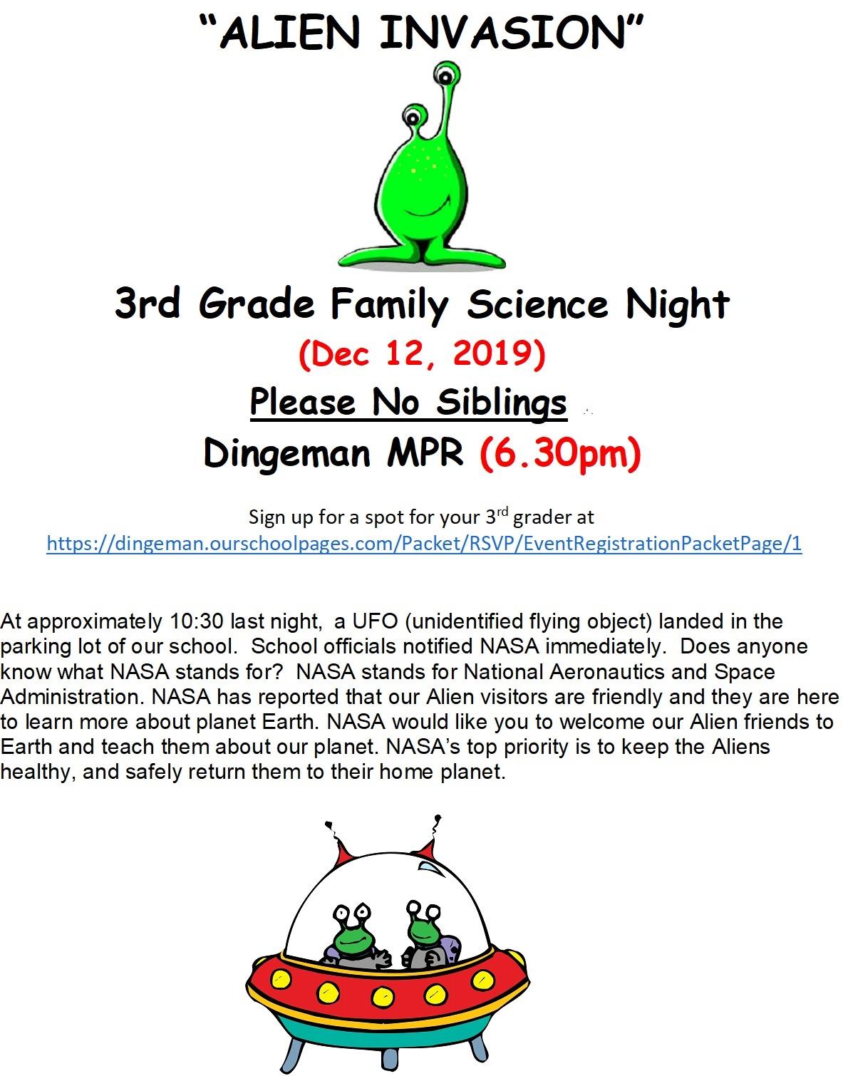 3rd Grade Family Science Night