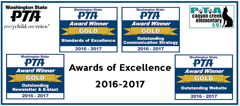 WSPTA Awards of Excellence 2016-17 awarded to Canyon Creek PTA