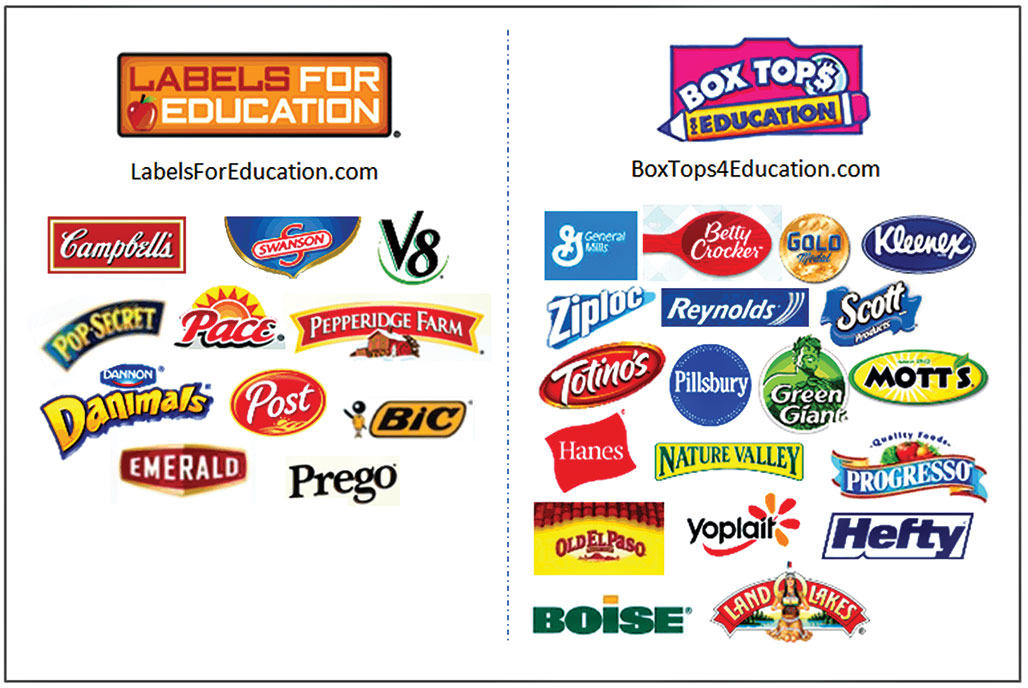 boxtops and labels for education