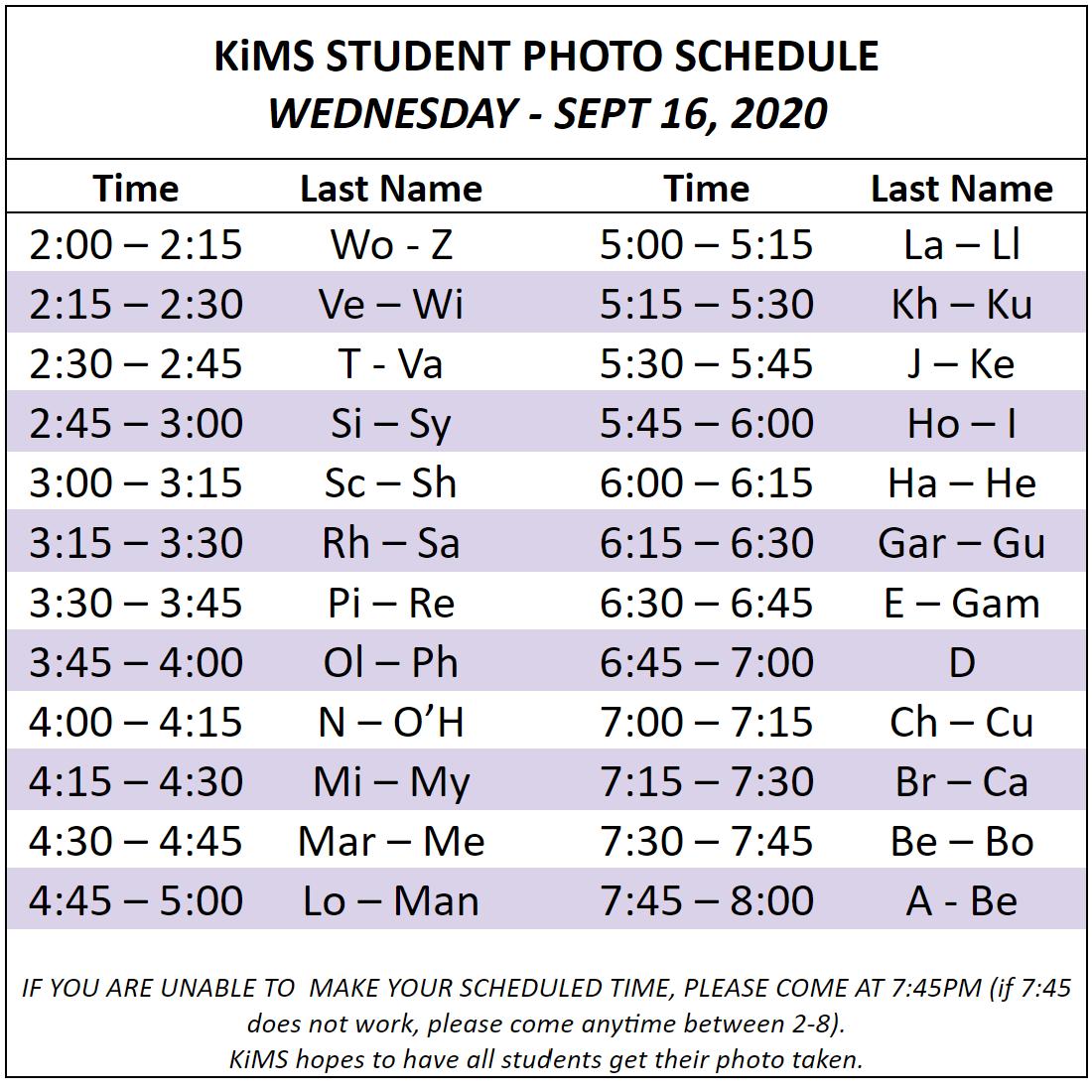 School Picture Schedule