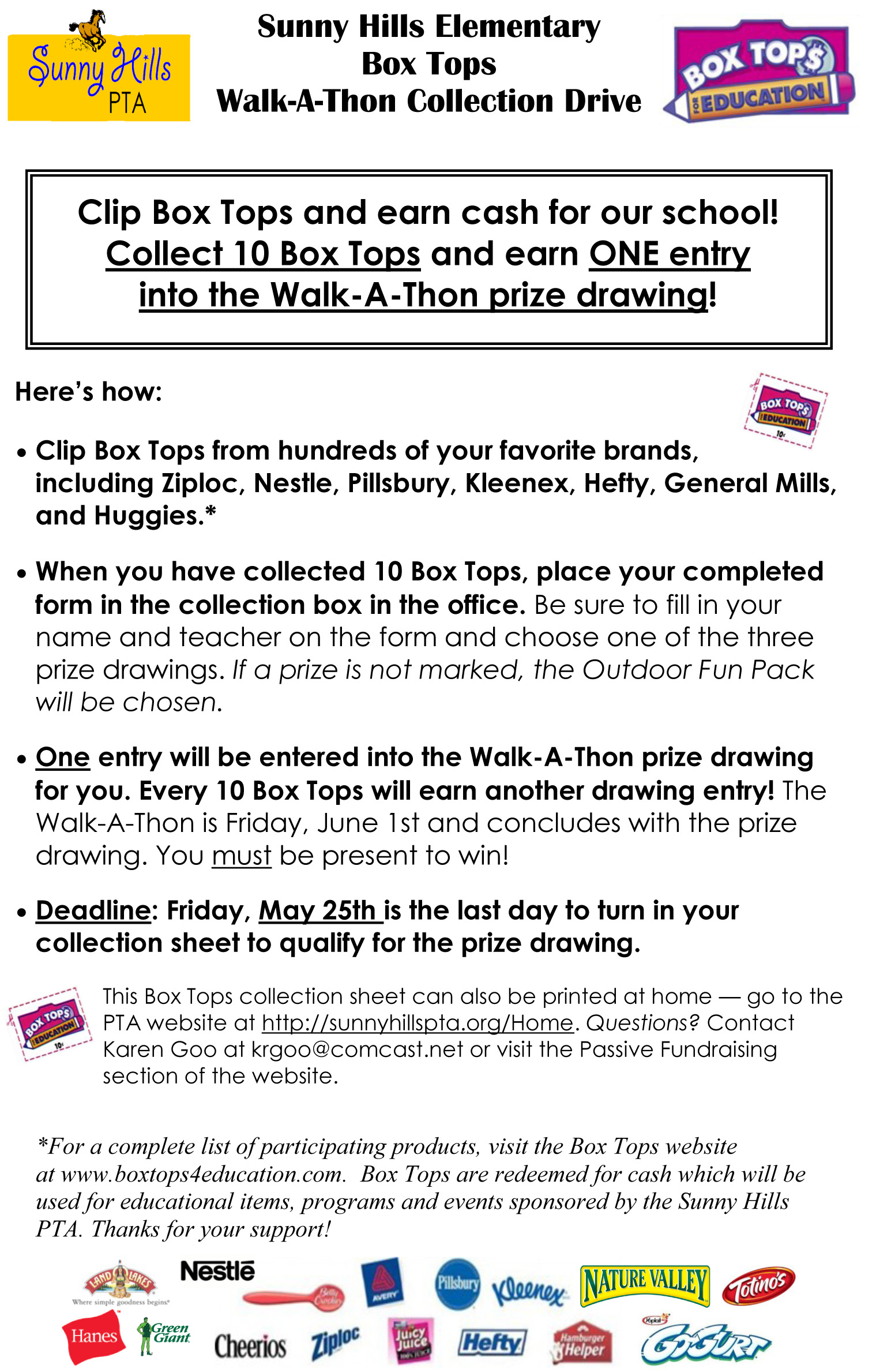 Box Tops Drive for WAT- Ends May 25th!
